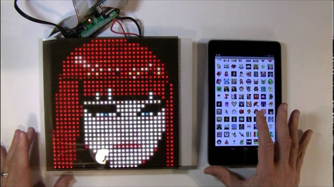SparkFun or Adafruit 32x32 RGB LED Panel Driver Tutorial 16 data signals connect + 5VDC refreshed to display an image
